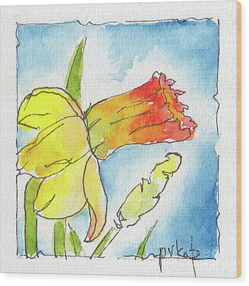 Wood Print featuring the painting Blue Sky Daffodils by Pat Katz
