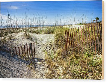 Wood Print featuring the photograph Blue Sky Dunes by Debra and Dave Vanderlaan