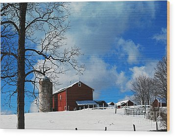 Wood Print featuring the photograph Blue Sky Farm by Lila Fisher-Wenzel