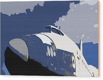 Blue Sky Shuttle Wood Print by David Lee Thompson