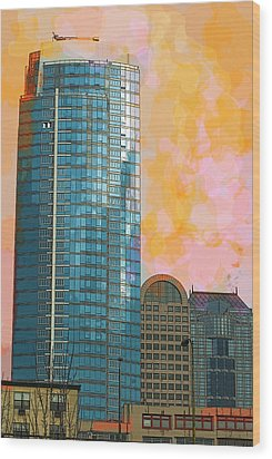 Wood Print featuring the photograph Blue Skyscraper Seattle by Yulia Kazansky
