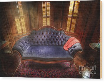 Wood Print featuring the photograph Blue Sofa Den by Craig J Satterlee