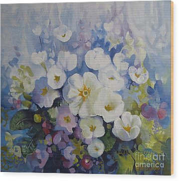 Wood Print featuring the painting Blue Spring by Elena Oleniuc