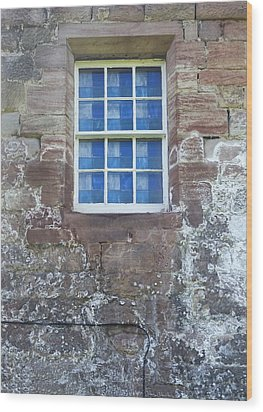 Wood Print featuring the photograph Blue Squares In The Castle Window by Christi Kraft