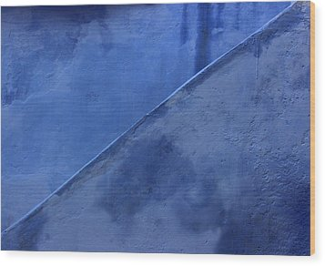 Wood Print featuring the photograph Blue Stairs In Profile by Ramona Johnston