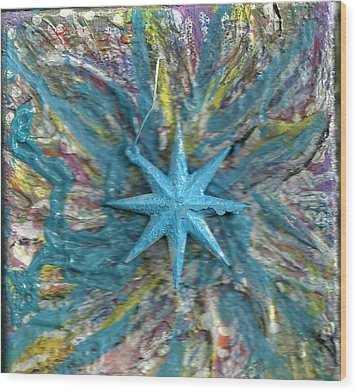Blue Star Shining At Me Wood Print by Anne-Elizabeth Whiteway