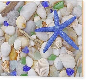 Blue Starfish Wood Print by Kelly S Andrews