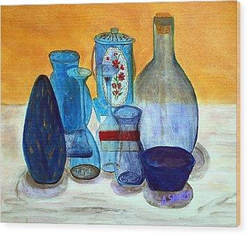 Blue Still Life Wood Print