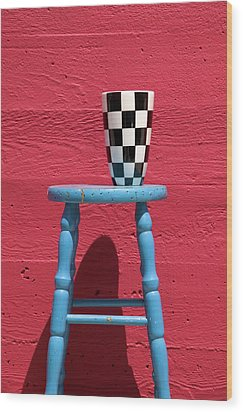Blue Stool Wood Print by Garry Gay