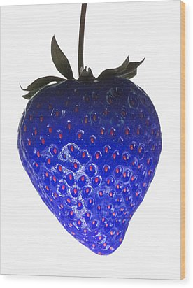 Blue Strawberry Wood Print by Tim Booth