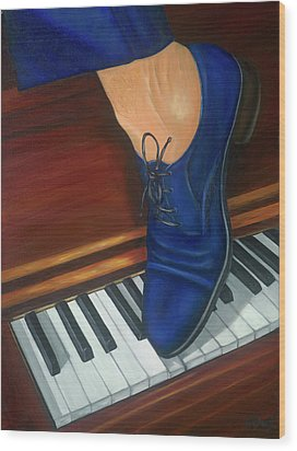 Wood Print featuring the painting Blue Suede Shoes by Marlyn Boyd
