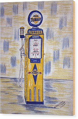 Wood Print featuring the painting Blue Sunoco Gas Pump by Kathy Marrs Chandler