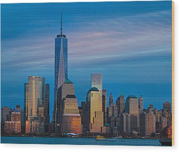 Blue Sunset At The World Trade Center Wood Print
