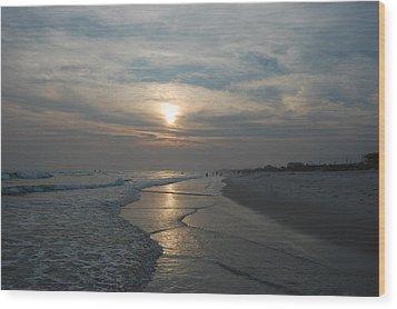 Blue Sunset Wood Print by Beverly Hammond
