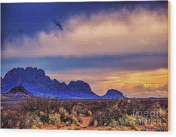 Blue Sunset Nm-az Wood Print