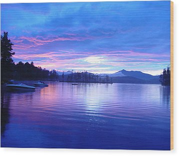Blue Sunset Wood Print by Katherine Huck Fernie Howard