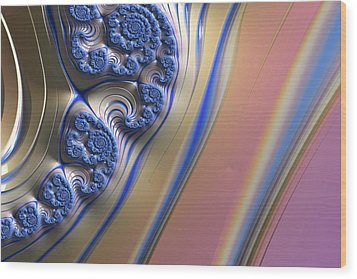 Wood Print featuring the digital art Blue Swirly Fractal 2 by Bonnie Bruno