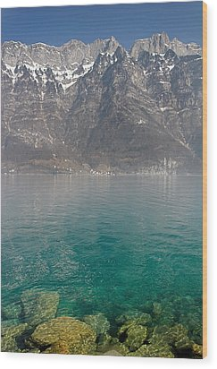 Blue Swiss Lagoon Wood Print by Pierre Leclerc Photography