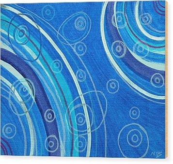 Blue Swril Number Seven Wood Print by Nina Bravo
