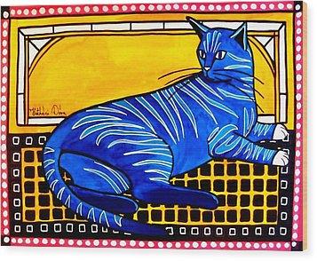 Blue Tabby - Cat Art By Dora Hathazi Mendes Wood Print by Dora Hathazi Mendes