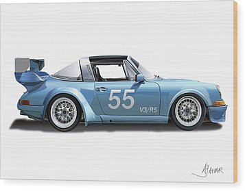 Blue Targa Wood Print