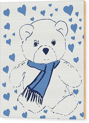 Blue Teddy Bear Love Wood Print by Sonya Chalmers