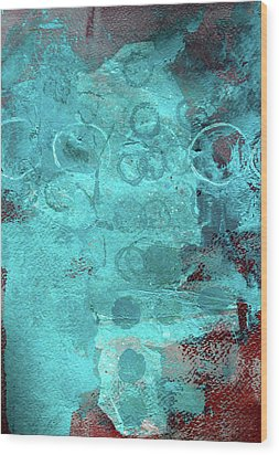 Wood Print featuring the painting Blue Textures by Nancy Merkle