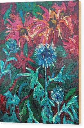 Blue Thistle And Bee Balm Wood Print