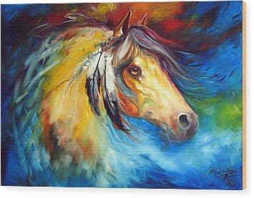 Blue Thunder War Pony Wood Print by Marcia Baldwin