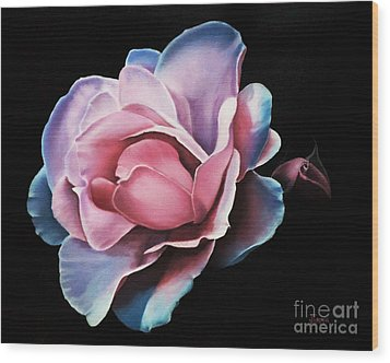 Blue Tipped Rose Wood Print by Jimmie Bartlett