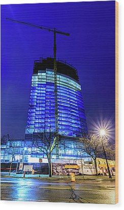 Wood Print featuring the photograph Blue Tower Rising by Randy Scherkenbach