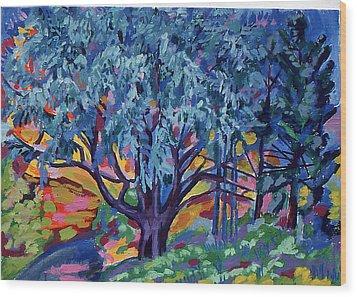 Blue Tree Far Country Wood Print