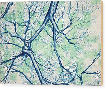 Blue Tree With Green Sky Wood Print by John Terwilliger