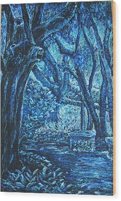 Blue Trees Wood Print by Patricia Gomez