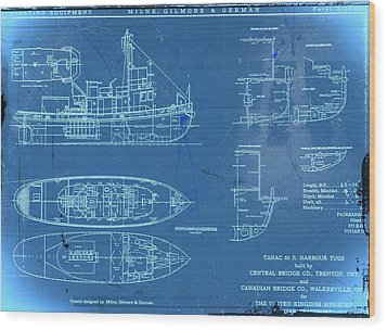 Blue Tugboat Blueprints Wood Print by Joseph Hawkins