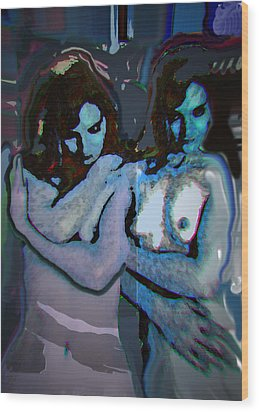 Blue Twins Wood Print by Noredin