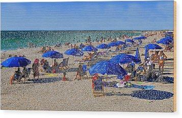 Blue Umbrella  Beach Wood Print by David Lee Thompson