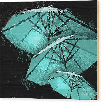 Blue Umbrella Splash Wood Print
