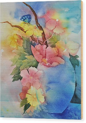 Blue Vase Bouquet Wood Print by Sandy Fisher