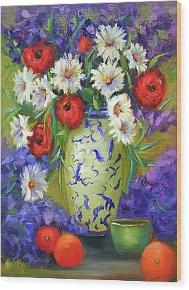 Blue Vase Flowers Wood Print