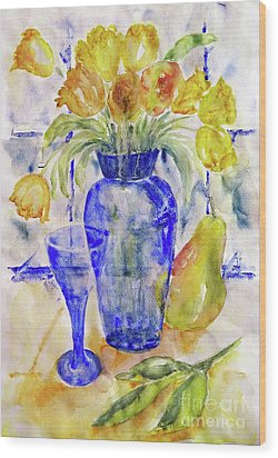 Wood Print featuring the painting Blue Vase by Jasna Dragun