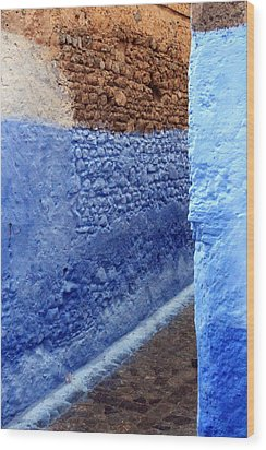 Wood Print featuring the photograph Blue Walls Of Chefchaouen by Ramona Johnston