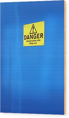 Blue Warning 2 Wood Print by Jez C Self