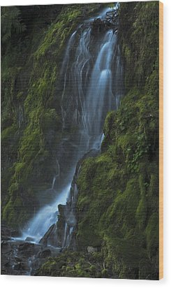 Wood Print featuring the photograph Blue Waterfall by Yulia Kazansky