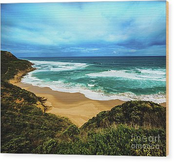Wood Print featuring the photograph Blue Wave Beach by Perry Webster