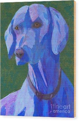 Blue Weimaraner Wood Print