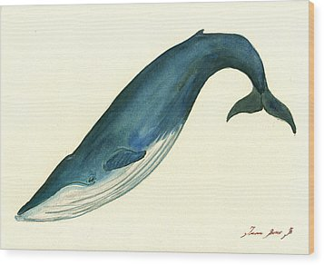 Blue Whale Painting Wood Print by Juan  Bosco