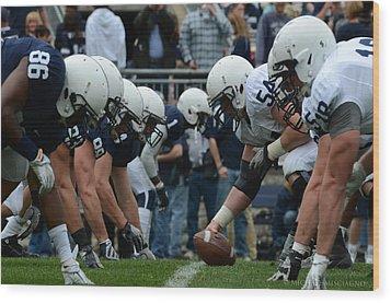 Blue White Penn State Football Wood Print by Michael Misciagno