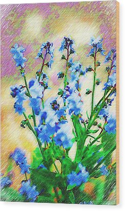 Wood Print featuring the photograph Blue Wildflowers by Donna Bentley