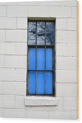 Blue Window Panes Wood Print